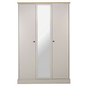 Kensington 3 Door Mirrored Wardrobe - Putty & Oak Effect