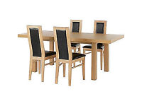 Ella Extendable Dining Table - 4 Chocolate Warwick Chairs.