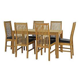 Penley Oak Stain Extendable Table and 6 Paris Black Chairs