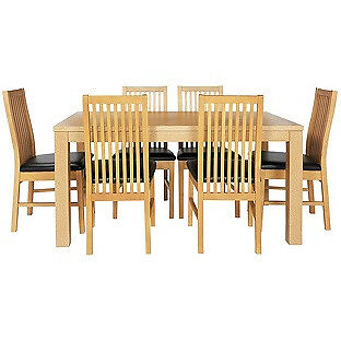 """Pemberton Oak Effect Dining Table 6 Black Paris Chairsin Farnley, West YorkshireGumtree - Just this one available for sale. One piece of great home furniture. Needs to sell Fast. If you please call up me for details and also e mail me please. """"Table Size H75, L150, W90cm. Wood veneer table. Wood veneer legs. Chairs 6 chairs. Size of each..."""