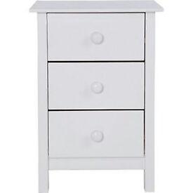 New Scandinavia 3 Drawer Bedside Chest - White