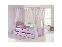 Mia Single 4 Poster Bed Frame - Pink