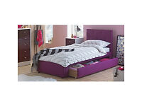 Upholstered Single Bed Frame with Drawer - Plum