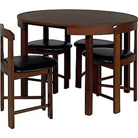 Hygena Alena Wood Stain Circular Dining Table and 4 Chairs
