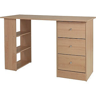 New Malibu 3 Drawer Desk - Beech Effect