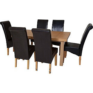 Collection Wickham Dining Table & 6 Chairs-Oak Veneer Black