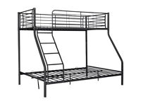 Metal Triple Bunk Bed Frame - Black