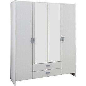 New Capella 4 Door 2 Drawer Mirrored Wardrobe - White