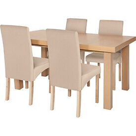 Cosgrove Ext Oak Stain Dining Table and 4 Cream Chairs.