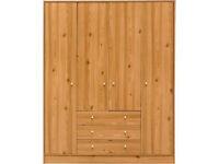 New Malibu 4 Door 3 Drawer Wardrobe - Pine Effect