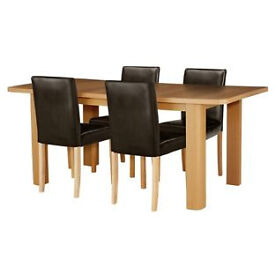 Shenley Oak Veneer Extendable Table & 4 Chocolate Chairs