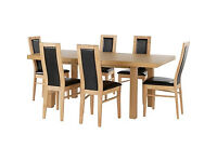 Ella Extendable Dining Table - 6 Black Warwick Chairs.