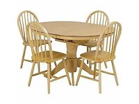 Kentucky Natural Extendable Dining Table and 4 Chairs