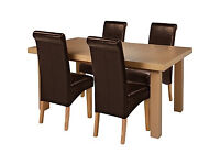 Collection Wickham Dining Table & 4 Chairs -Oak Veneer Choc