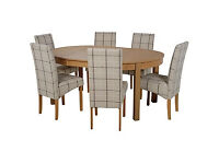 Massey Wood Effect Extendable Table and 6 Checked Chairs