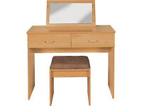 Collection Cheval Dressing Table, Stool, Mirror-Beech Effect