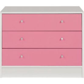 New Malibu 3 Drawer Wide Chest - Pink on White