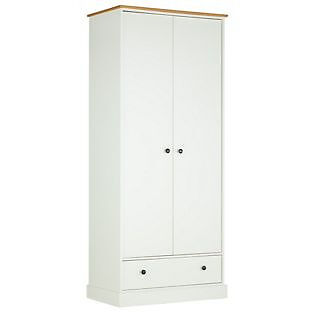 Kensington 2 Door 1 Drawer Wardrobe - Oak Effect and White