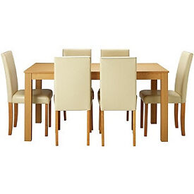 New Elmdon Oak Stain Dining Table & 6 Cream Chairs.
