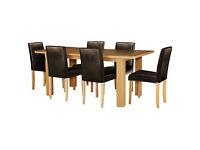 Shenley Oak Veneer Extendable Table & 6 Chocolate Chairs