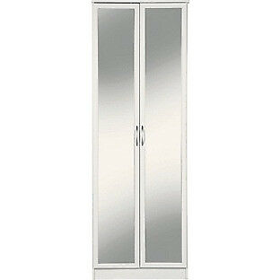 Cheval 2 Door Mirrored Wardrobe - White
