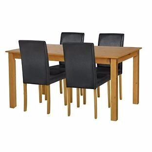 Ashdon Oak Stain 120cm Table & 4 Black Mid Back Chairs. (NEW)