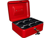 8 inch lockable red cash box - brand new