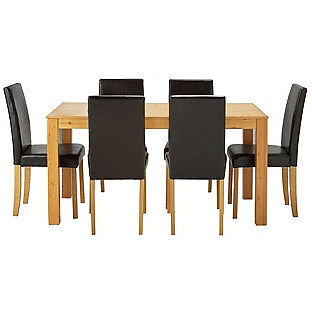 Newton Oak Stain Dining Table & 6 Black Chairs