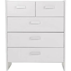 Fully assembled New Capella 3+2 Drawer Chest - Soft White