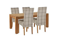 Heart of House Aspley Table & 4 Check Skirted Chairs.