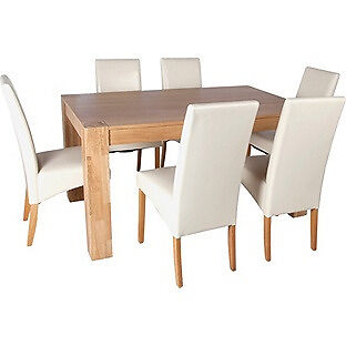 Heart of House Alston Dining Table and 6 Chairs - Oak Cream