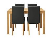 Black oak dining table 4 black chairs Dining Tables Chairs for