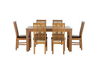 Pemberton Oak Effect Dining Table & 6 Paris Chairs
