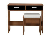 New Sywell Dressing Table and Stool - Walnut Effect & Black
