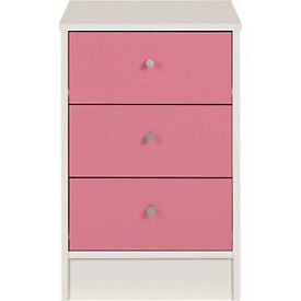 New Malibu 3 Drawer Bedside Chest - Pink on White