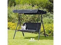 Green 2-seater Garden Swing Seat with Canopy and Cushions