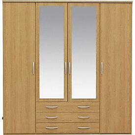 New Hallingford 4 Dr 3 Drw Mirrored Wardrobe - Oak Effect