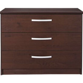 New Hallingford 3 Drawer Wide Bedside Chest - Wenge Effect