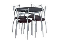 Perth Circular Dining Table and 4 Black Chairs