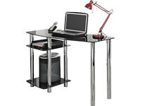 Hygena Matrix Glass Office Desk - Black