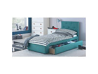 Upholstered Shorty Bed Frame with Drawer - Blue