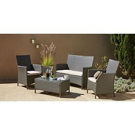 Rattan Effect 3 Seater Sofa Set with Cushions