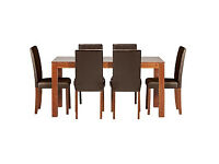 Newton Walnut Stain Dining Table & 6 Chocolate Chairs