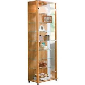 Double Glass Door Display Cabinet - Light Oak Effect.