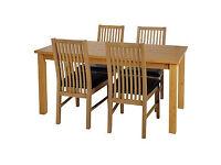 HOME Ashdon Oak Stain 120cm Table & 4 Paris Black Chairs