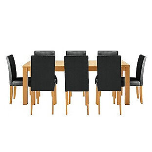 Hemsley Extendable Dining Table & 8 Black Chairs.
