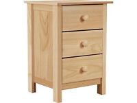 New Scandinavia 3 Drawer Bedside Chest - Pine