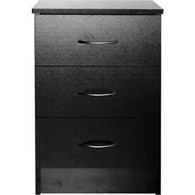 Cheval 3 Drawer Bedside Chest - Black