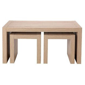 Sicily Coffee Table with Nest of 2 Tables - Oak Effect