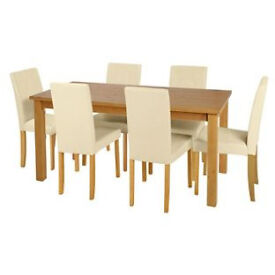 Ashdon Oak Stain 150cm Table & 6 Cream Mid Back Chairs